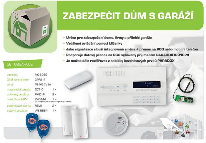 bezdrátový GSM alarm - sestava GSM Magellan MG6250DG ZABEZPEČIT DŮM S GARÁŽÍ
